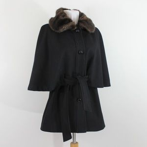 Betsey Johnson Wool Fur Cape Coat Black Small S